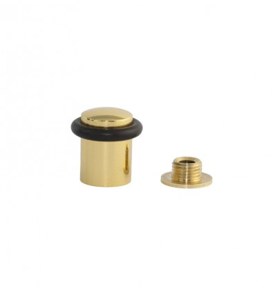 Brass Doorstops with screw (I-108) - bright black rubber