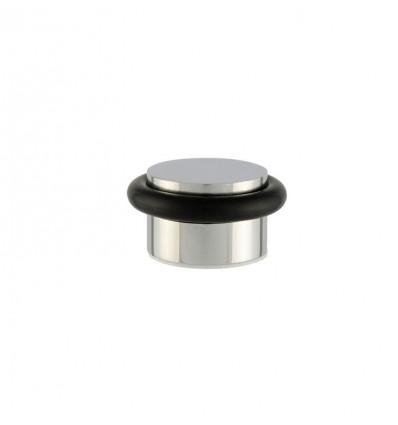 Stainless Steel doorstops adhesive (I-140) - Black rubber, Bright inox finish