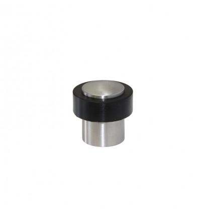 Stainless steel doorstops with screw (I-156) - Matt black rubber