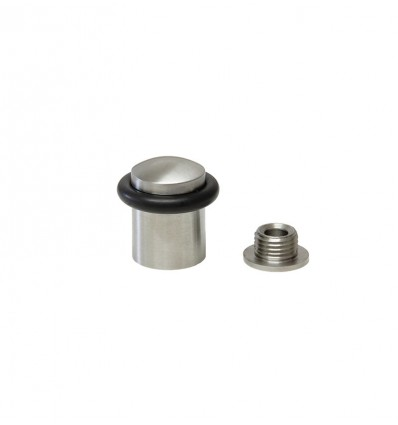Stainless steel doorstops with screw (I-159) - Matt with black rubber
