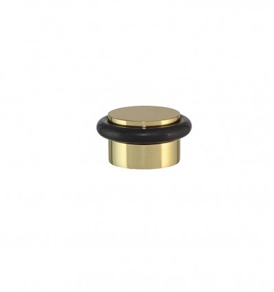 Brass Doorstops Adhesive - Bright with black rubber (I-103)