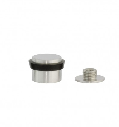 Stainless steel doorstops with base with screw (Ref: I-199/24) - Matt black rubber