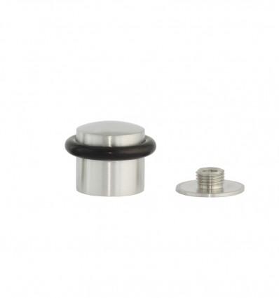Stainless steel doorstops with screw (Ref: I-202/28)- Matt Black rubber