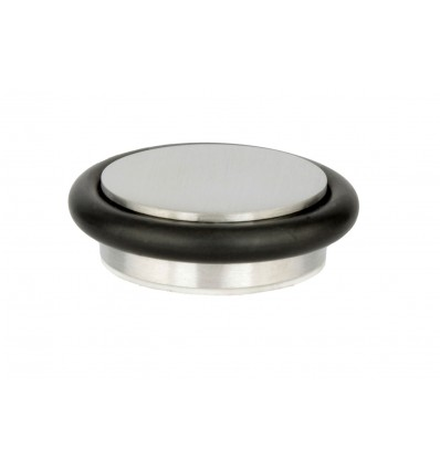 Stainless Steel doorstops adhesive (I-203/35) - Black rubber